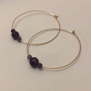 Jewelry - Gold & Purple Delicate Hoop Earrings